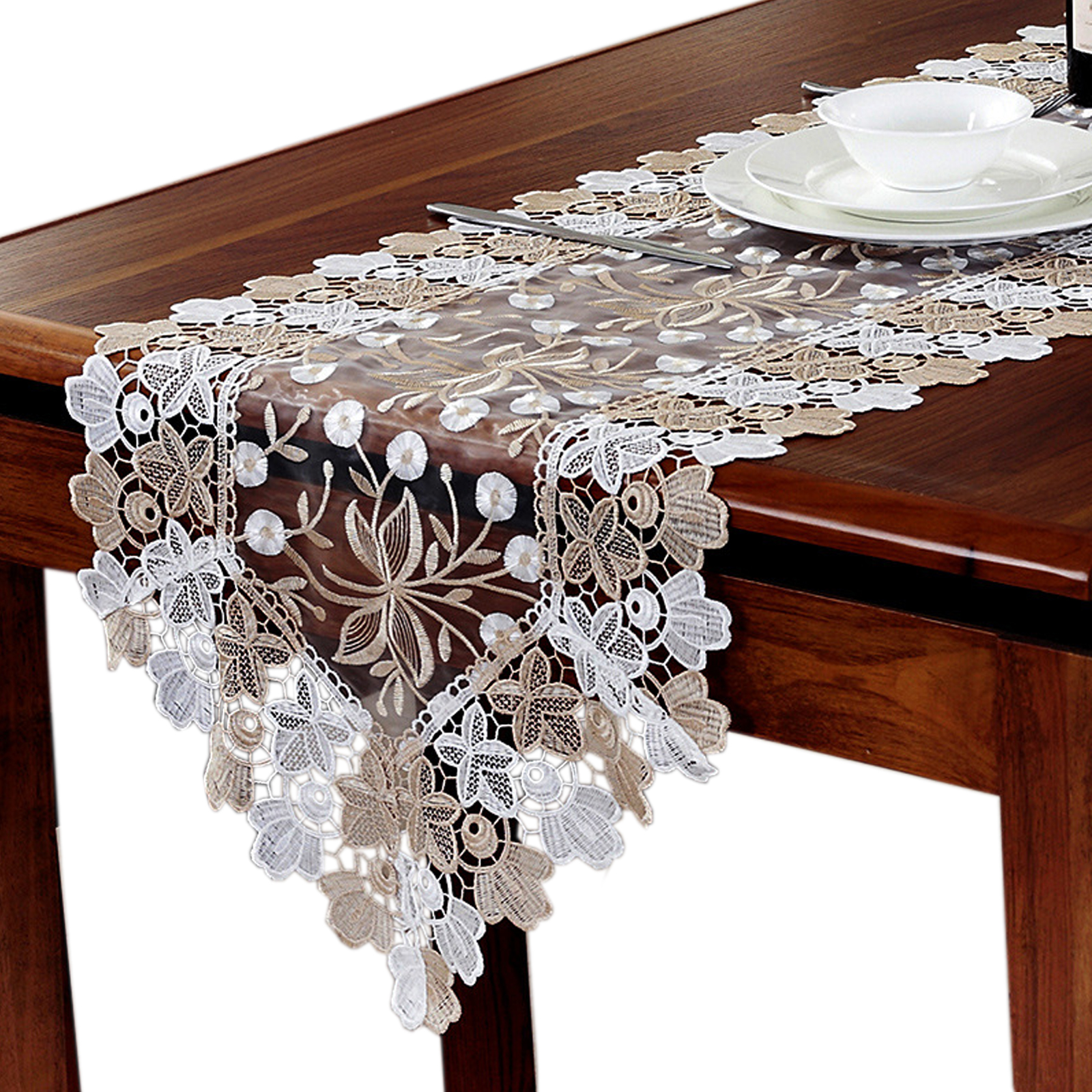 6size Rose Lace Embroidery Table Runner Tv Cabinet Cover Cloth Tea