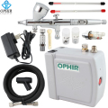OPHIR Airbrush Cosmetic Makeup System Mini Air Compressor 0.2mm 0.3mm 0.5mm Airbrush Kit for Nail Art Body Paint Cake Decorating