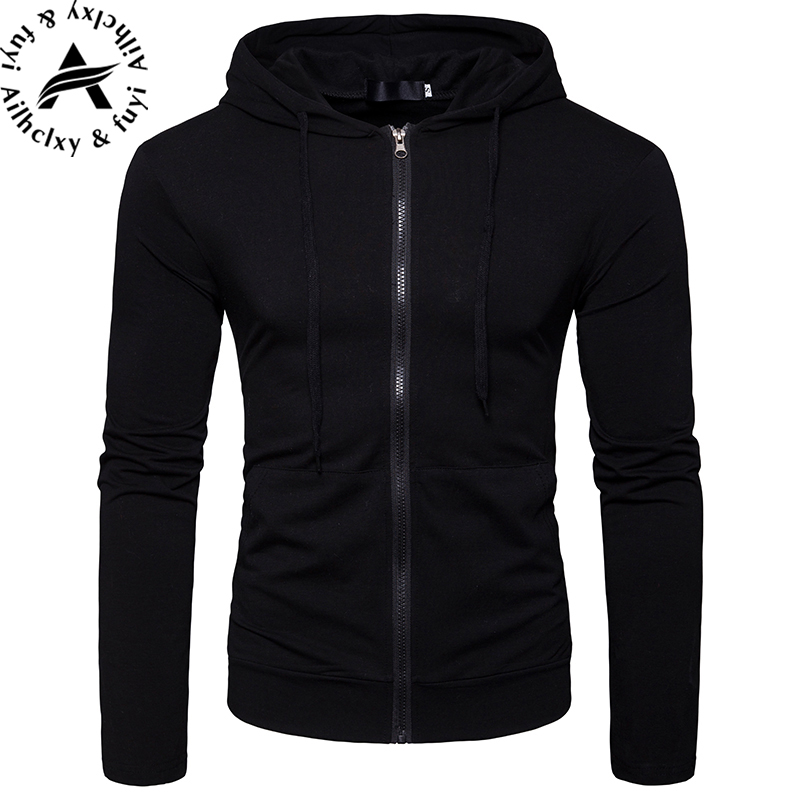 Hooded Sweatshirt Zipper Large-Size Casual Fashion Pocket Coat Men Slim Male Long