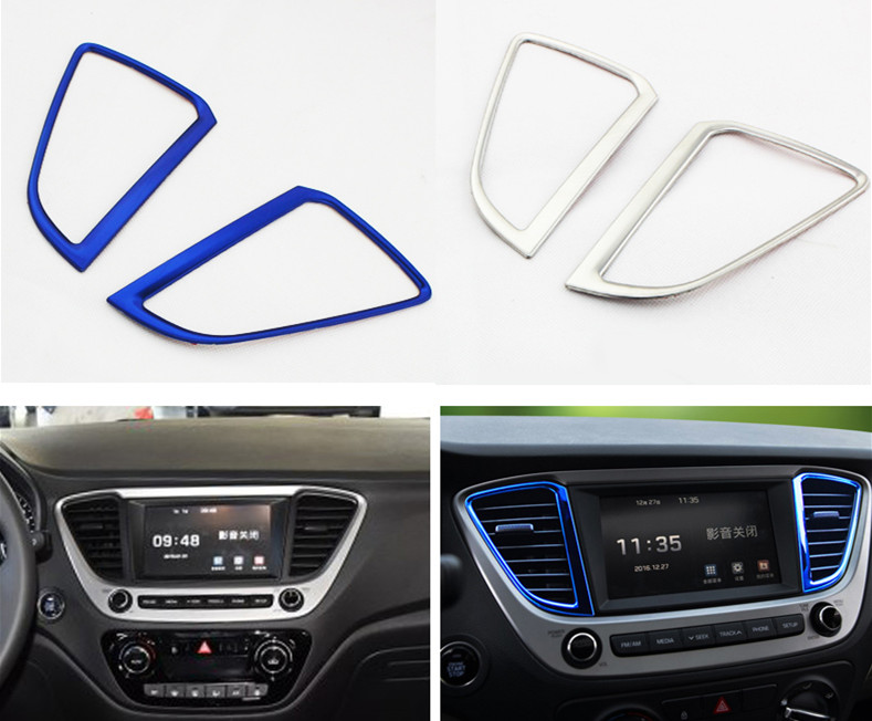 Keao For Hyundai Solaris 2 interior Air conditioning outlet cover car styling decoration Interior Mouldings trim