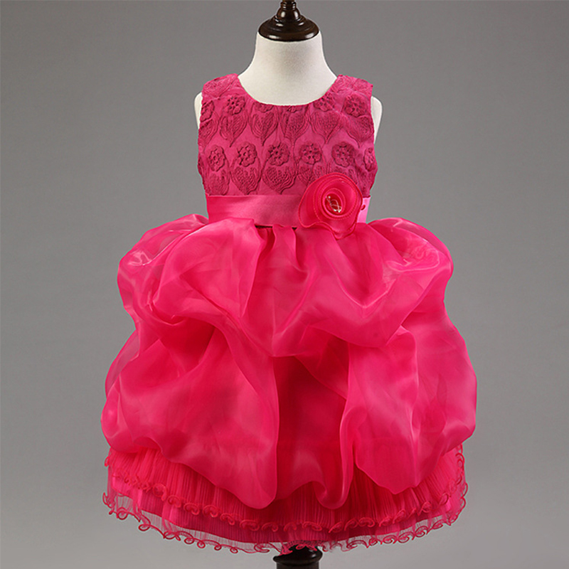 2018 Summer  And Autumn Girls With Flowers And Bow Belt Tulle Party Dress Children Pretty Solid Roses Princess Embroidered Dress uoipae party dress girls 2018 autumn