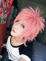 MCOSER Free Shipping Supreme Natsu Dragneel 13 Inches Short Pink Anime Cosplay Wig