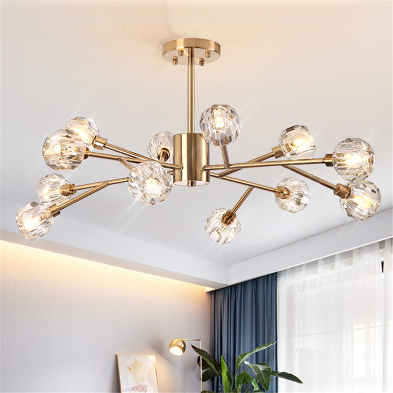 HTB18EfPMhjaK1RjSZFAq6zdLFXaT Flush Mount Ceiling Light | Ceiling Lamp | New crystal ball ceiling Lighting Gold branch design lustres ceiling lamp for living dining room cristal lighting fixtures Voltage 85-265V