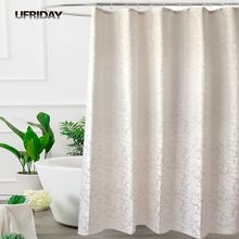 UFRIDAY Waterproof Fabric Shower Curtain Leaves Jacquard Polyester Bathroom Shower Curtains European Elegant Thick Bath Curtain ufriday waterproof shower curtains transparent floral shower curtain peva plastic bathroom curtain white flower bath curtain