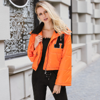 Lily Rosie Girl Casual Oversized Parkas Quilted Jackets Orange Super Cropped Women S Padded Coats 2017