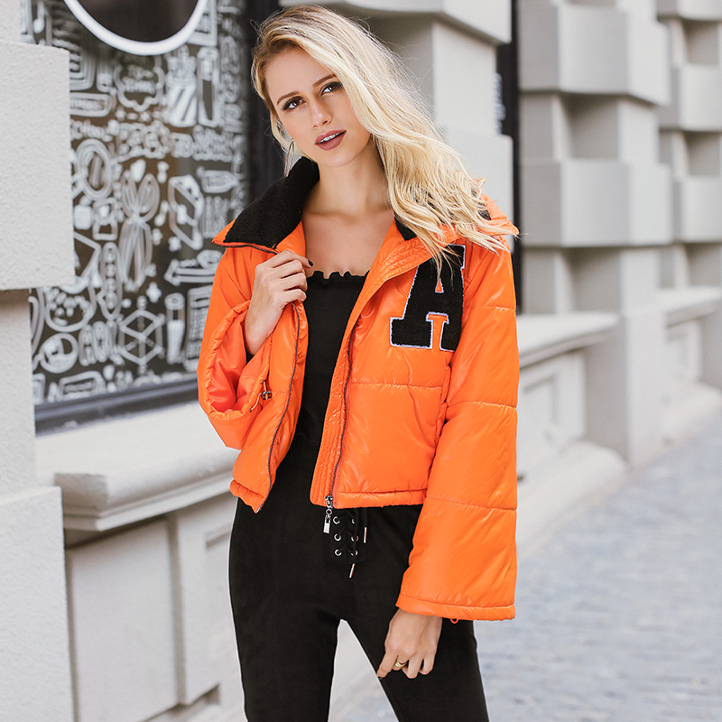 Lily Rosie Girl Casual Oversized   Parkas   Quilted Jackets Orange Super Cropped Women's Padded Coats Autumn Winter Chic Outerwear