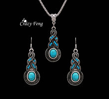 Crazy Feng Jewellery Christmas Gift Tibetan Silver Warp Blue Crystal Round Blue Stone Pendant Necklace Earrings for Women New(China)