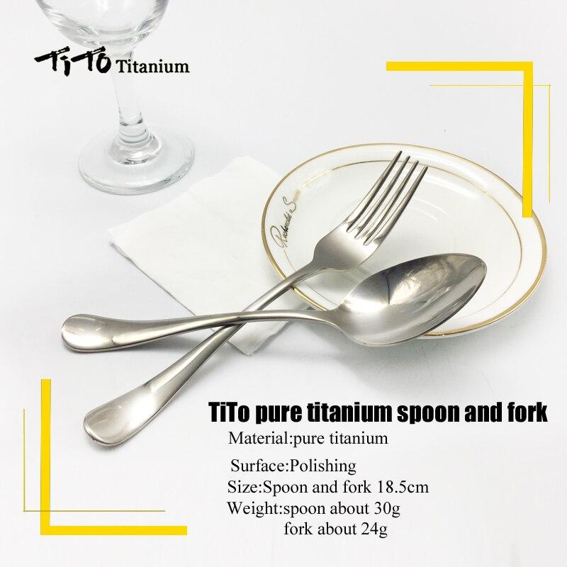 TiTo titanium polished Spoon Tableware titanium Fork Ultralight pure titanium Spork Cutlery Camping Cooking Titanium spoon
