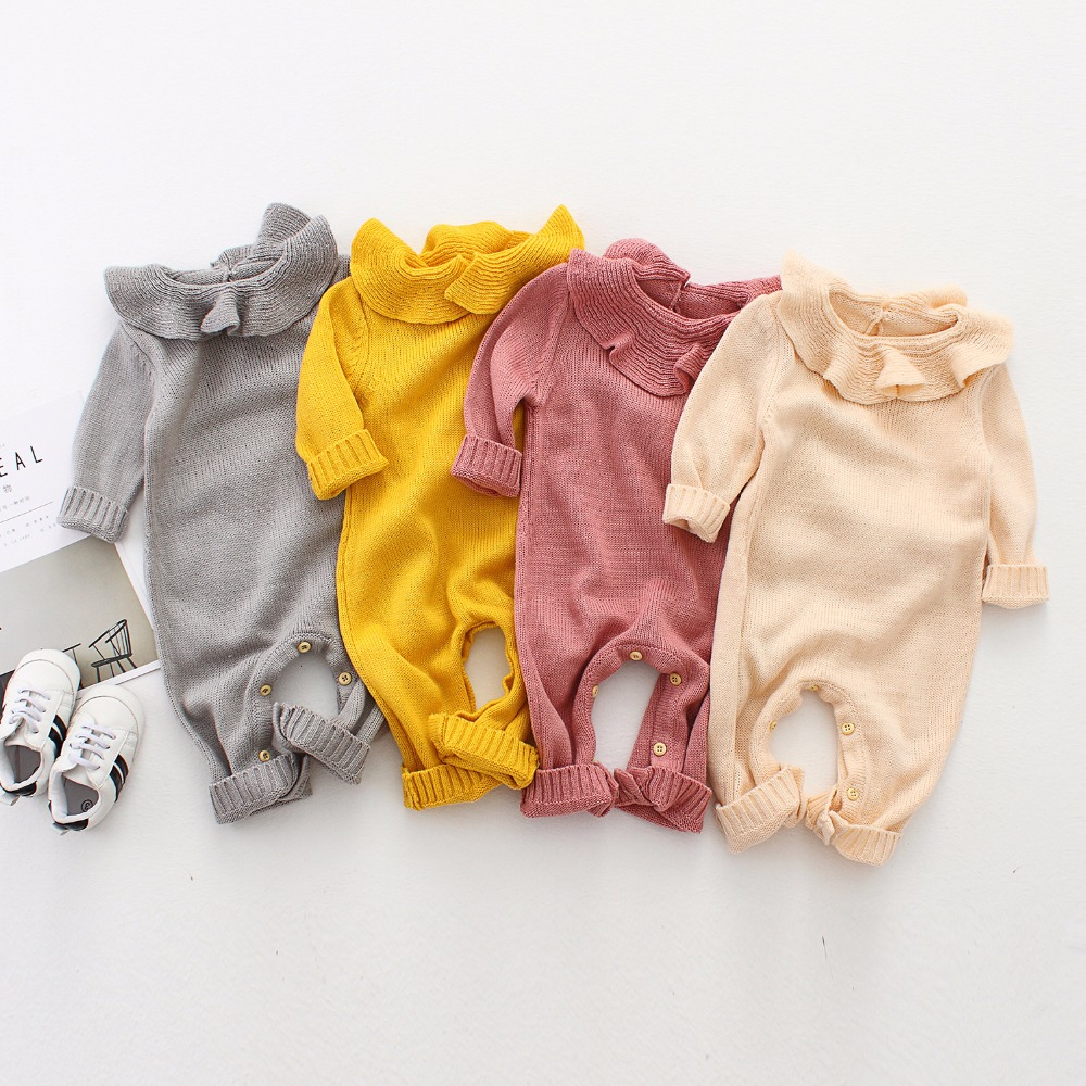 Spring Baby Girl Knitted Rompers Cotton Ruffle Newborn Baby Clothes Autumn Long Sleeve Girls Boys Jumpsuit Kids Outfits Overalls 2017 new women flower flats slip on cotton fabric casual shoes comfortable round toe student flat shoes woman plus size 2812w page 2
