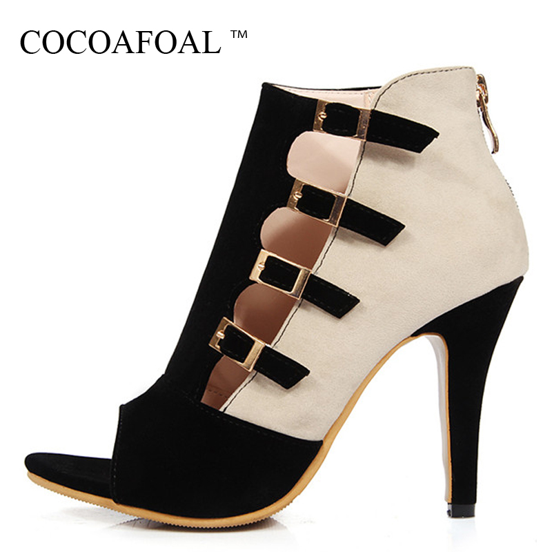 COCOAFOAL Women Open Toe Heels Sandals Big Size 33 43 Sexy Pole Dance Heeled Sandalias Red Summer Peep Toe Sandals Gladiator new 2016 sexy gladiator ankle straps high heels fashion brand women sandal summer mixed colors open toe sandalias big size 34 43