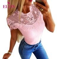 Розовая футболка Femme, кружевная Повседневная футболка с коротким рукавом, облегающие милые женские топы, летняя футболка Harajuku с круглым выр...