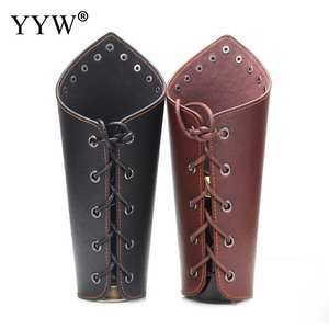 Wristband Black Props Steampunk Cross-String Faux-Leather Medieval Cosplay Wide-Bracer