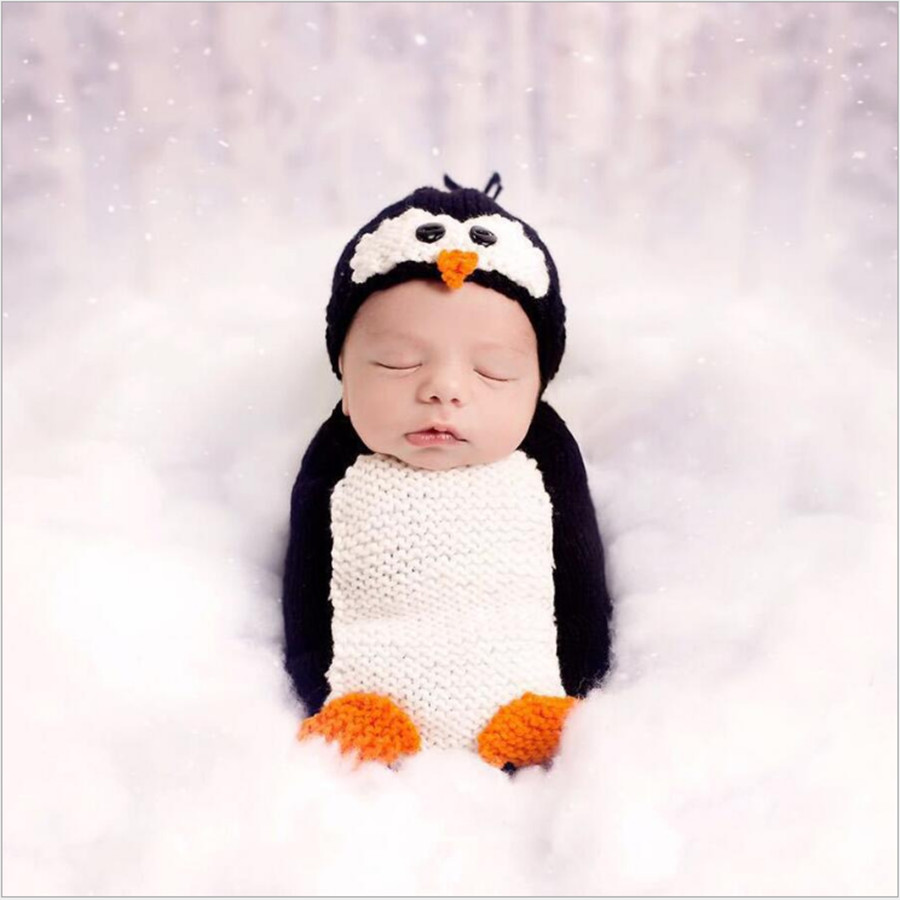 Baby clothes for little girls and boys knitted newborns penguin costumes  crochet pullover suits infant props photography outfits 9dc36b3bf093