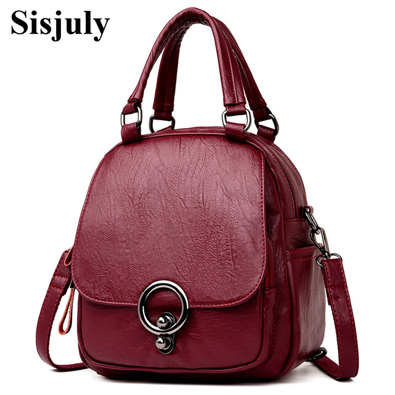 Sisjuly High Quality Multifunction Backpack Mochil 2018 New PU Leather Women Backpack Casual School Backpack For Teenager Girl sisjuly фуксин xl