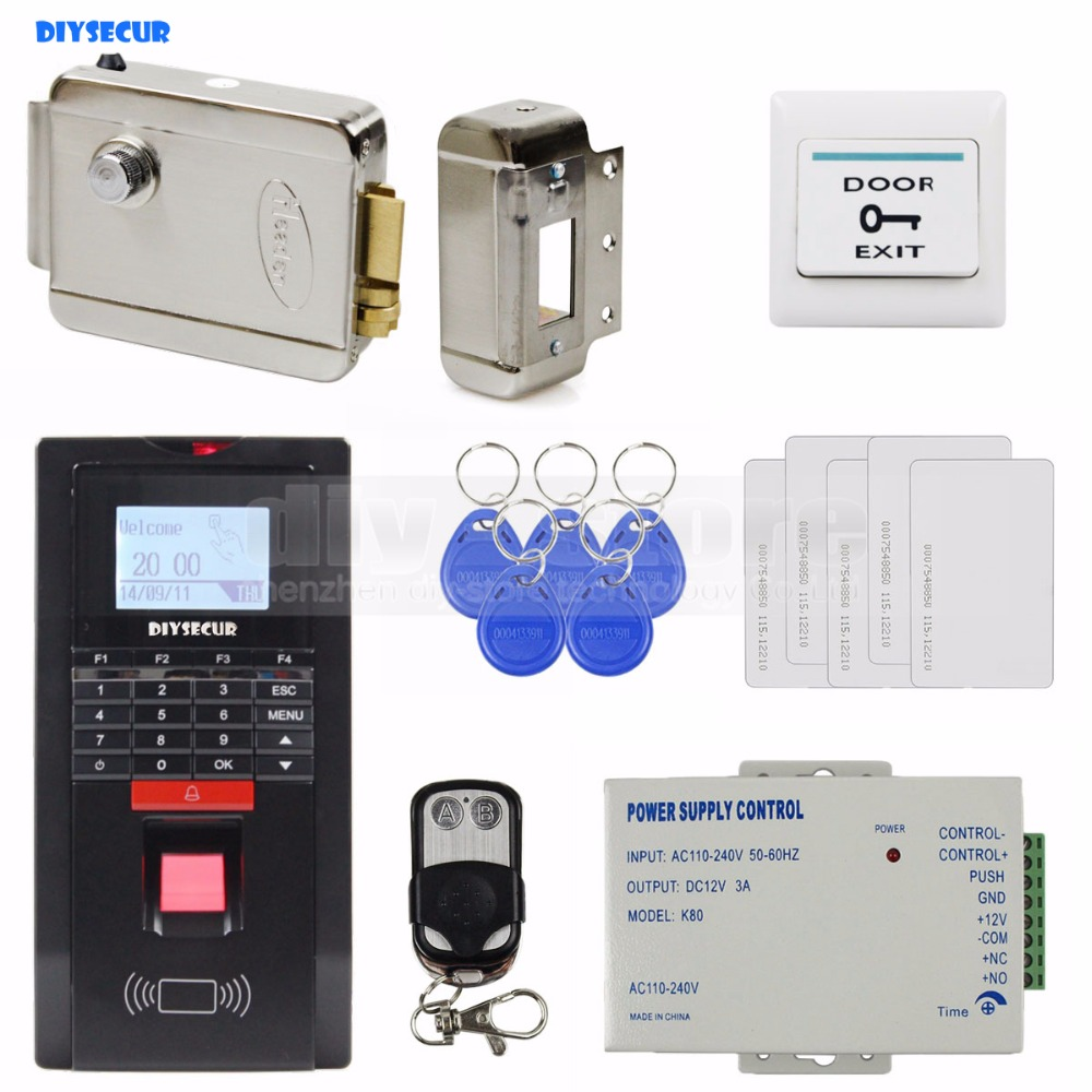 DIYSECUR Electric Lock Fingerprint Id Card 125KHz RFID Reader Password Keypad Door Access Control System Kit For Office/House rfid door access control system kit set with electric lock power supply doorbell door exit button 10 keys id card reader keypad