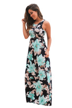 Misstyle Summer Cotton Camellia Printing Sexy Night Club O-neck Maxi Dress Floral Vintage Casual Tank Dress ukraine vestidos