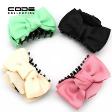 Colorful Ribbon Flower Bow Jaw Hair Clip Barrette Shiny Crab Claws For Women Kids Girl Accessories Ornaments