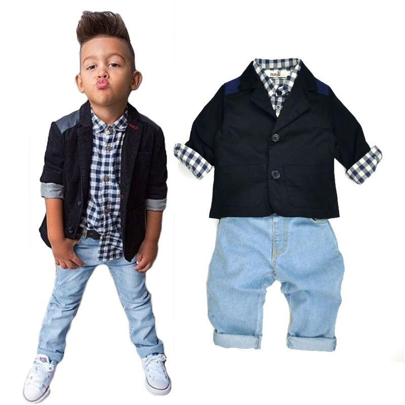 Baby Boy Suit New 2016 Spring Autumn Handsome Gentleman Denim Cotton Children's Seit Jacket + Shirt + Jeans 3 Piece CLS053 boy jeans jacket spring and autumn 2016 new children s denim jeans baby denim jacket