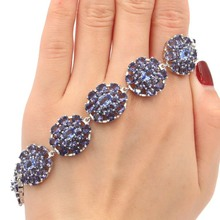 Deluxe SheCrown Big heavy 28.8g New Stone Iolite Gift For Girls Silver Bracelet 7.5 18x17mm