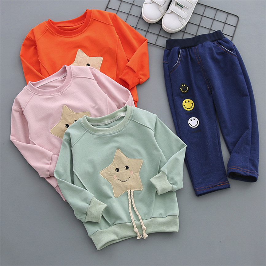Casual Sports Suit 2Pcs Fashion Infant Toddler Baby Boys Girls Smile Star Tops+Pants Outfits Clothes Set Dropshipping 0130