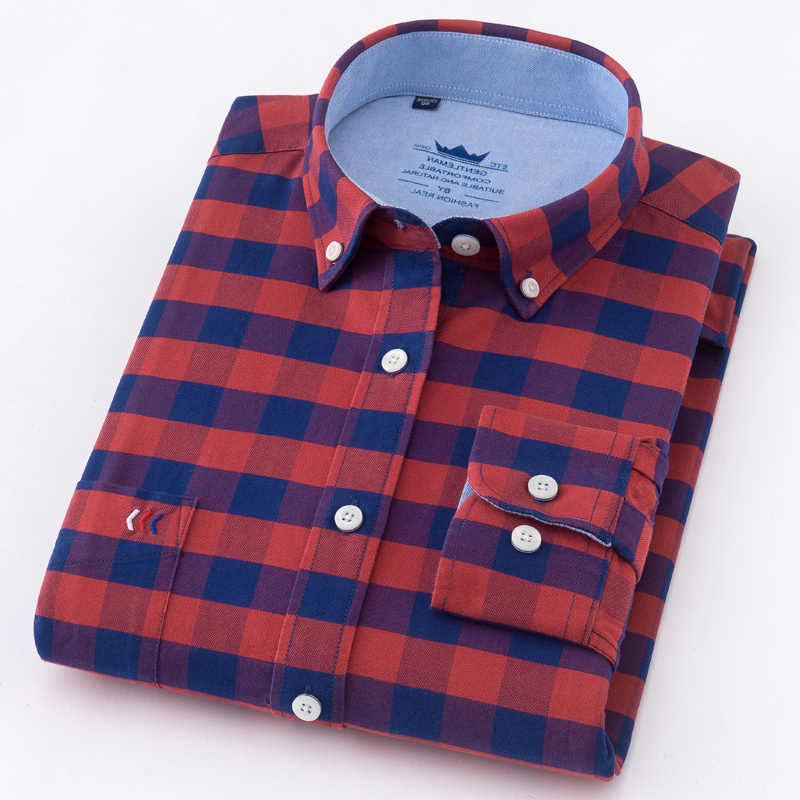 Горячая Распродажа 100% хлопок Оксфорд Повседневная Мягкая рубашка в клетку с длинными рукавами Мужская Весенняя 2018 Ретро стиль Одежда Рубашки Блузка мягкая