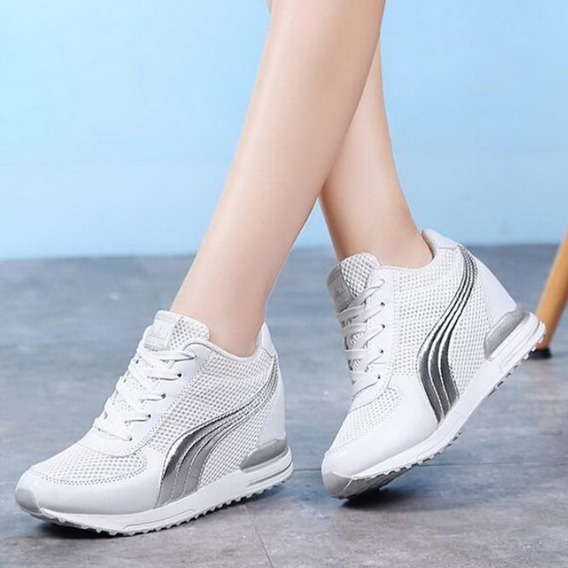 2019 Fashion Tenis Feminino Spring Autumn Shiny Fashion high top Women Sneakers Platform,Silver,35