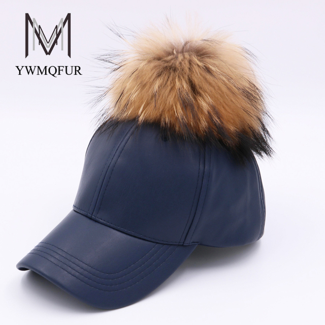 6a321b50070 YWMQFUR 2017 Winter PU Leather Baseball Cap With Raccoon Fur Ball Pom Pom  Biker snapback Hats For Women And Men hats caps H103
