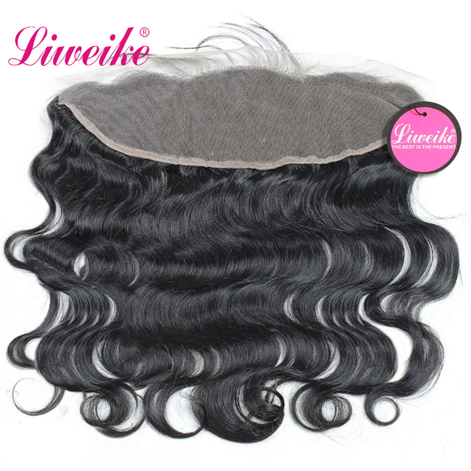 Liweike Body Wave 13*4 Lace Frontal Brazilian Silk Base Transparent Lace Frontals Human Hair Remy Free Part 130% Density