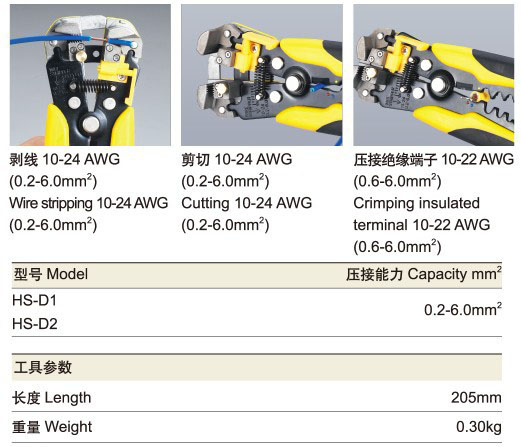 HS-D1 d4 d5 24-10 0.2-6.0 descascador de fios multifuncional alicate de descascamento automático cabo strippers ferramentas de friso corte