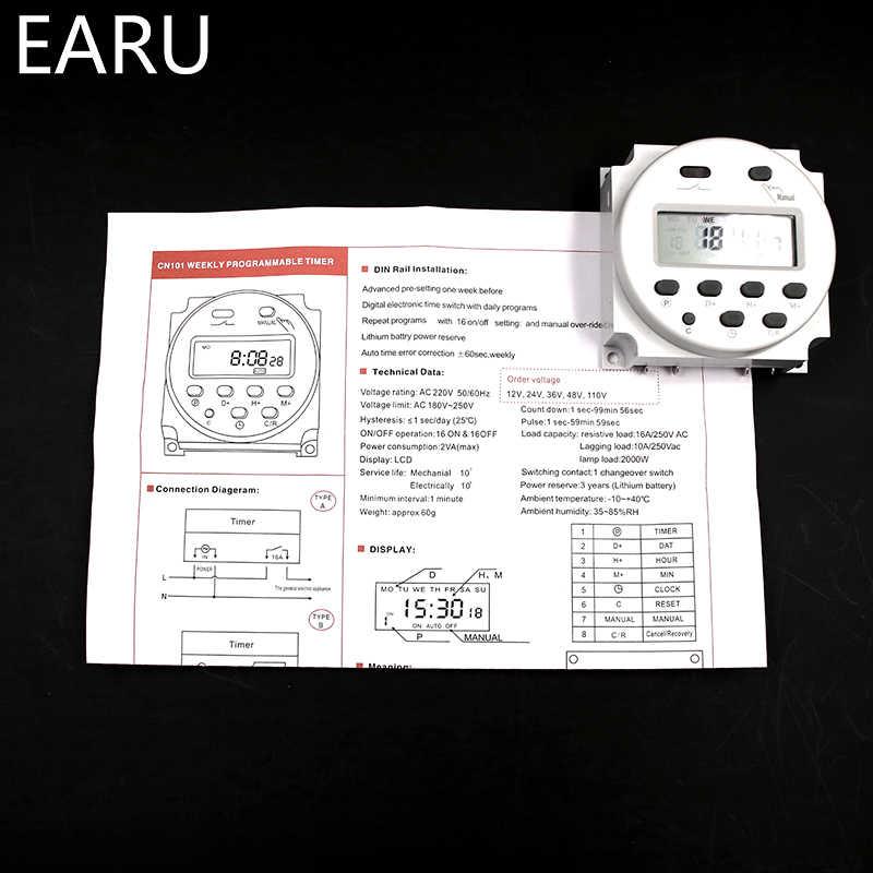CN101A interrupteur de minuterie AC/DC 12 V 24 V 110 V 120 V 220 V 230 V 240 V numérique LCD puissance semaine Mini Programmable interrupteur de temps relais 8A à 16A