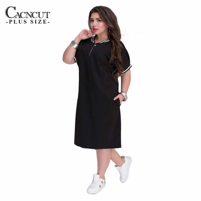 CACNCUT 5XL 6XL 2019 полномерная прямая женская одежда с круглым вырезом и молниями большого размера летнее повседневное свободное однотонное платье красного цвета Vestidos