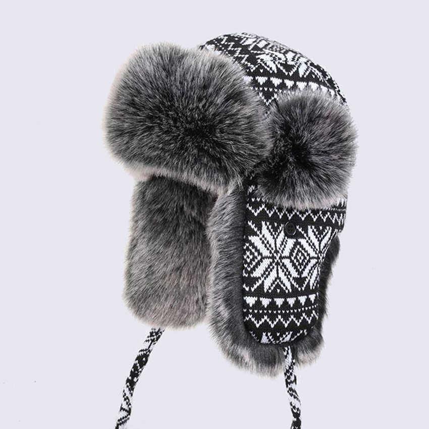 65d14a23d683c Men Women s Bomber Hats Black White Wool Knitting Snowflakes Thick Trapper  Hat Faux Fox Fur Winter