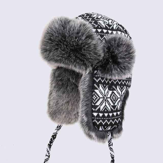 b2b45cb8bae Men Women s Bomber Hats Black White Wool Knitting Snowflakes Thick Trapper  Hat Faux Fox Fur Winter