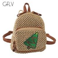 GFLV Brand Fashion Straw Mini Backpacks Women Sweet Beach Bag Cute Pineapple Christmas Tree Backpacks Bohemia Small Bag