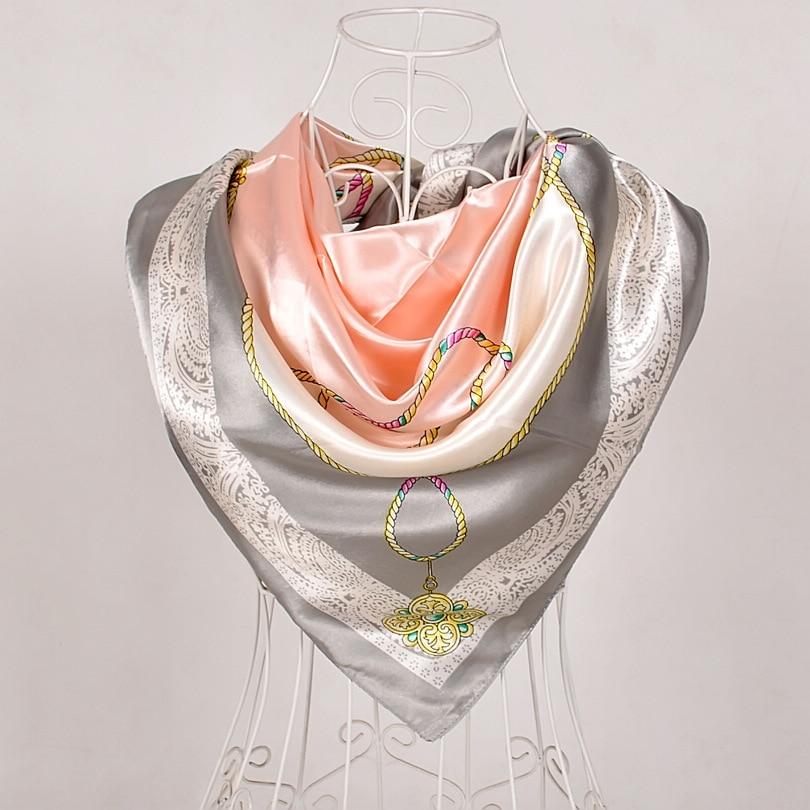 Дизайн женский Шелковый большой квадратный шелковый шарф из полиэстера, 90*90 см горячая Распродажа атласный шарф с принтом для весны, лета, осени, зимы - Цвет: grey pink 565