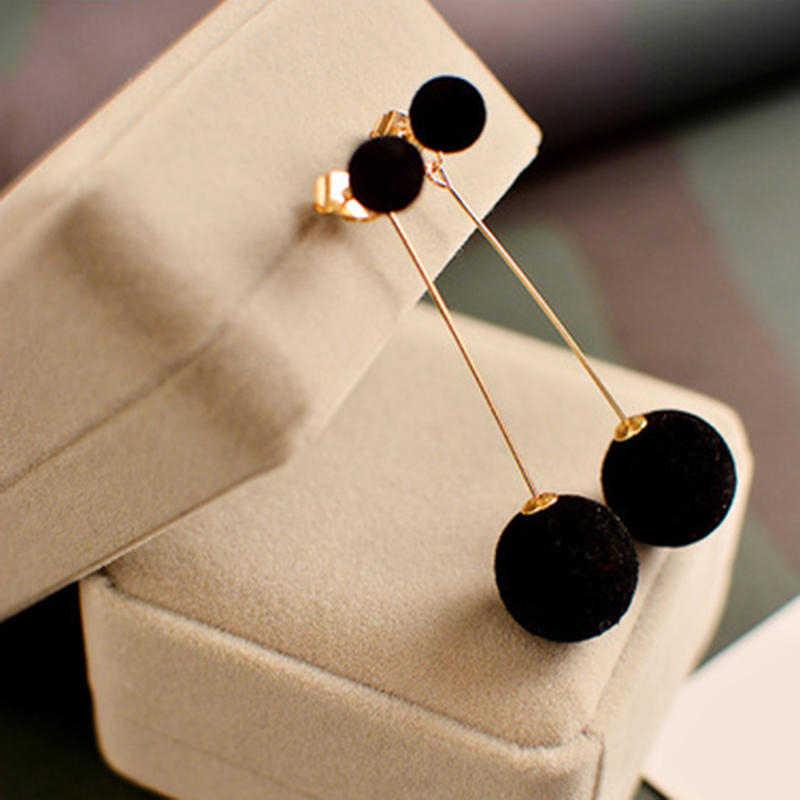 1 זוג אופנה מלאכותי שיער כדור להתנדנד עגיל לנשים חמוד לבן Pompom עגיל ילדה נחמד מתנות אביזרי רב מכר