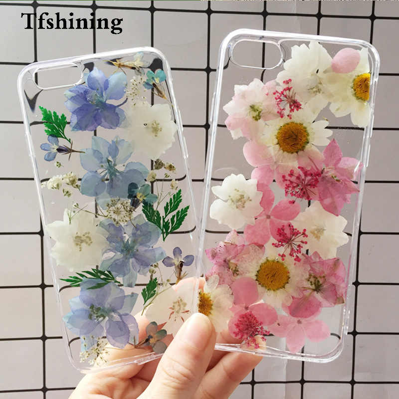 Tfshining Real Pressed Dried Flowers Case For iphone 11 pro max x xr xs max 7 8 6 6s plus Transparent Case Bling Girly Cover