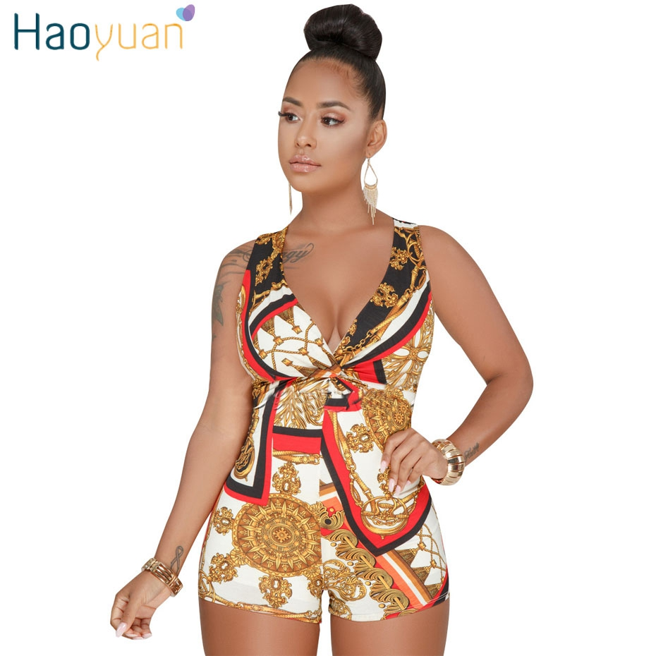HAOYUAN Plus Size Sexy Playsuit One Piece Summer Overalls Casual Bodysuit Deep-V Neck Bodycon Shorts Rompers Womens   Jumpsuit