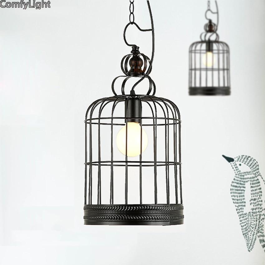 все цены на Contemporary led Chandelier Pendant lamp Contracted Creative birdcage Retro Art Suspension iron light Cafe/Restaurant Study Lamp онлайн