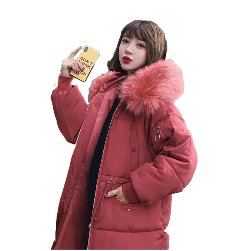 Loose Women Jackets woman   parka   Winter 2018 female Jacket Warm winter cotton coat women fur hoodies women's long   parkas   J997