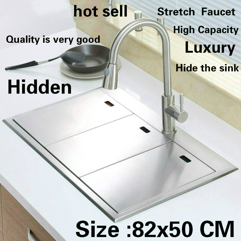 Standard di trasporto libero di lusso manuale di cucina lavello doppia scanalatura nascosta durevole food-grade in acciaio inossidabile di vendita calda 820x500 MILLIMETRI