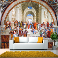 Papel De Parede Western European Classical Mural Paintings Famous Living Room Wallpaper Background Rome Hotel Wallpaper