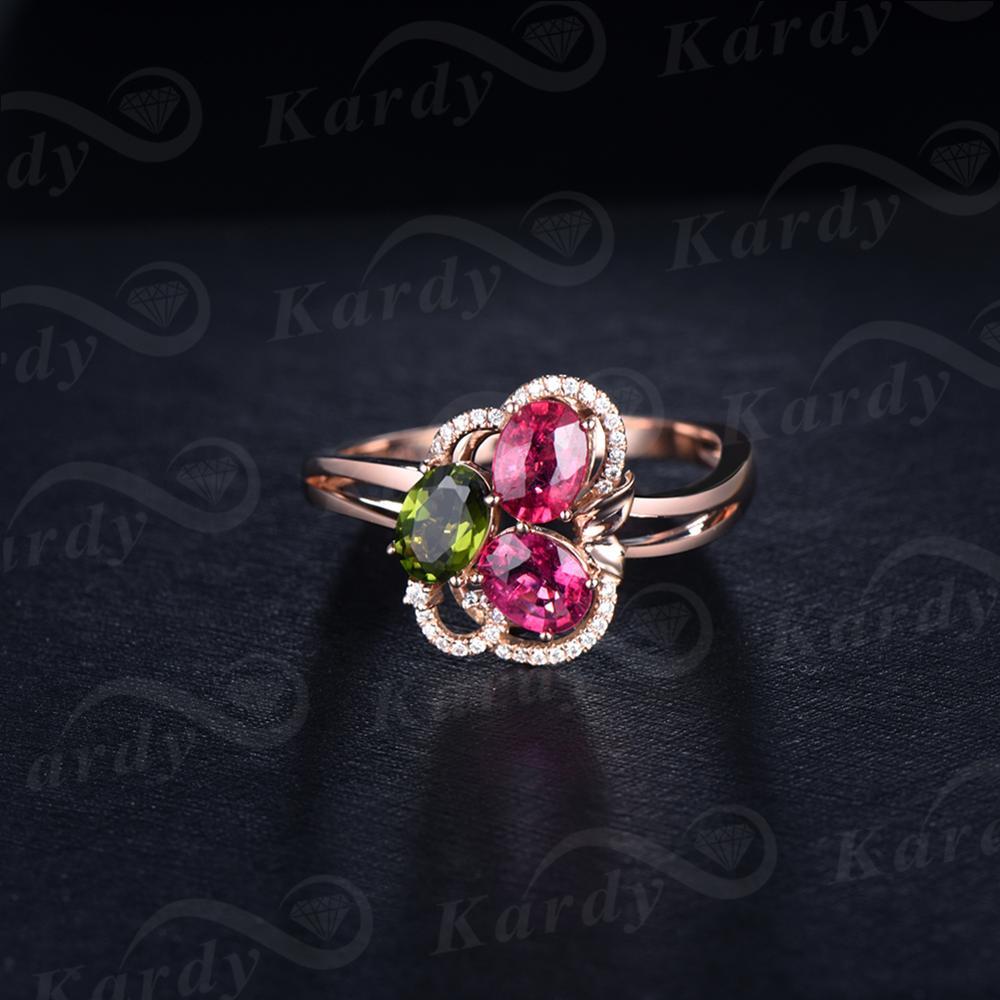 Il fantastico Design Della Pietra Preziosa Naturale Tormalina Diamante Reale 14 K Rose Gold Wedding Fidanzamento Band Ring Set - 3