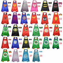50 Kids Superhero capes – Double sides Satin Fabric super hero cape + mask party supplies for Children's birthday party cosplay