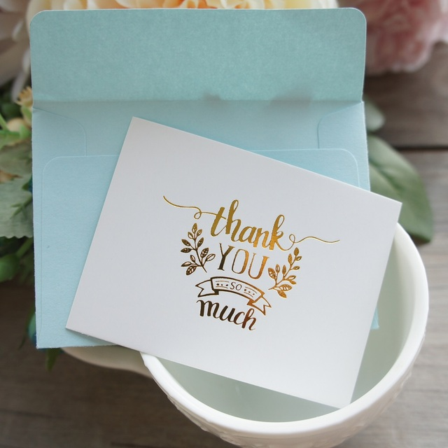 25pcs mini thank you card gold with blue envelope leave message 25pcs mini thank you card gold with blue envelope leave message cards lucky love valentine christmas stopboris Images