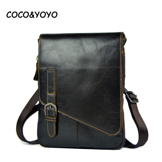 2017 New Arrival Brand Design Vintage Brown 100% Genuine Leather Bag Small Men Messenger Bags Casual Shoulder Bags Bolsos Hombre