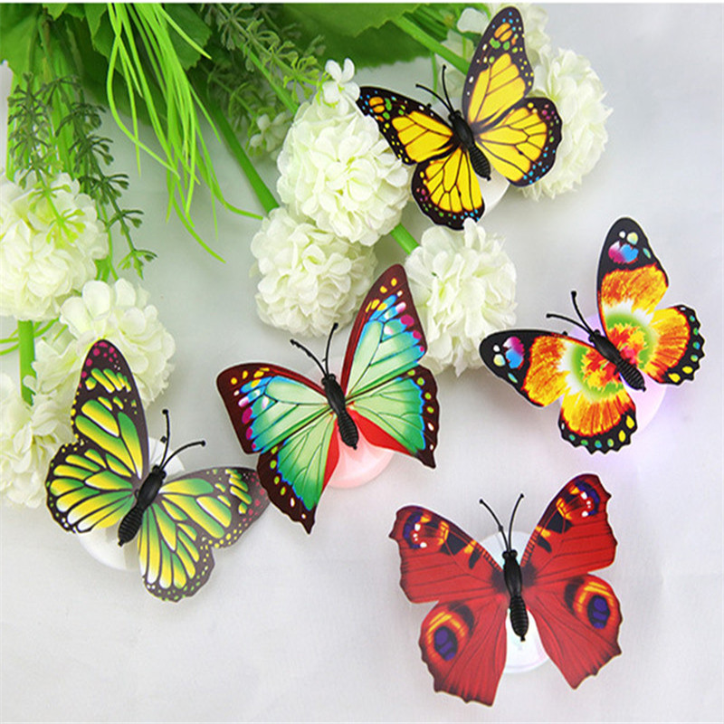 Fun Colorful Changing Butterfly LED Night Light Lamp Home Room Desk Wall Decor