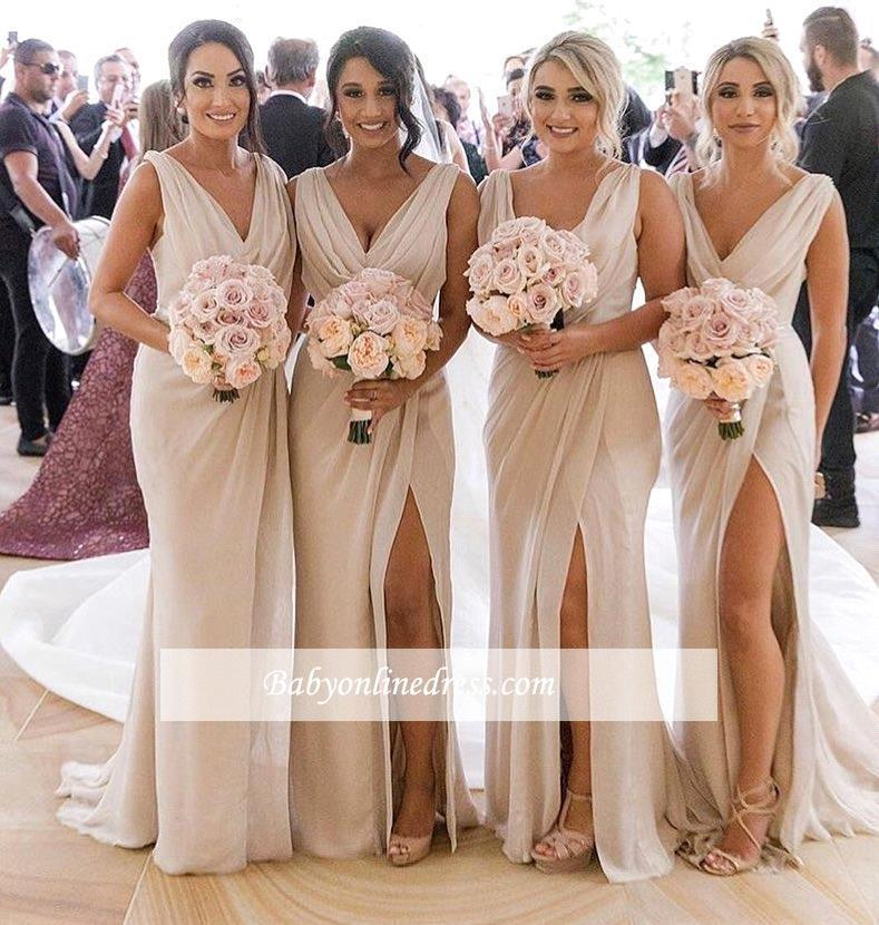 Elegant A Line Side Slit Chiffon Long   Bridesmaid     Dresses   2019 Cheap Prom   Dresses   Maid of Honors   Bridesmaid   Party Gowns