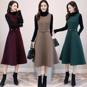 Image 2 - Women Wool Vest Dress Fashion Autumn Winter Elegant Slim O neck Sleeveless Dress Plus size Ladies With pocket Woolen Dress 3XL