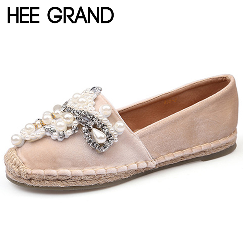 HEE GRAND Flock Loafers Strng Bead Ballet Flats 2018 Casual Slip On Shoes Woman Shallow Summer Women Flat Shoes XWD6714